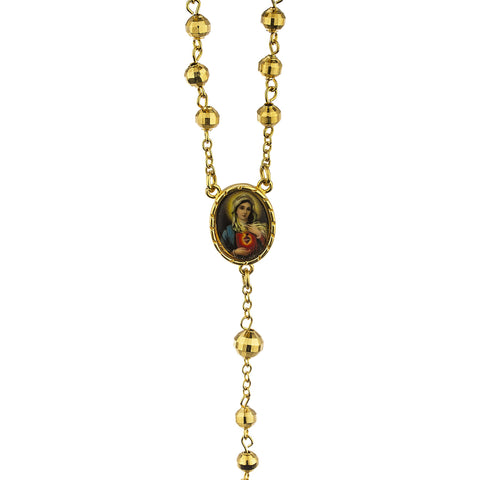 Two Year Warranty Gold Overlay 7.5mm 21 Inch Rosary Cross Pendant And Virgin Mary Charm Necklace