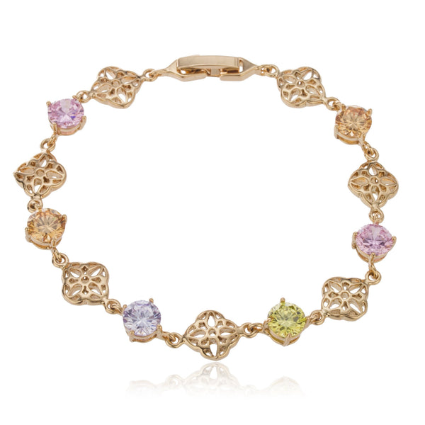 Two Year Warranty Gold Overlay 7 Inch Clover Charm Bracelet With Multicolored Cz Stones
