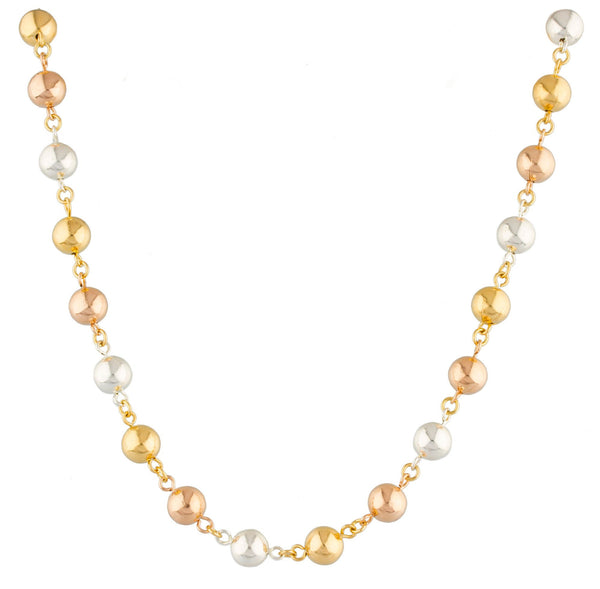 Two Year Warranty Gold Overlay 7mm Tri Tone Beaded 18 Inch Necklace