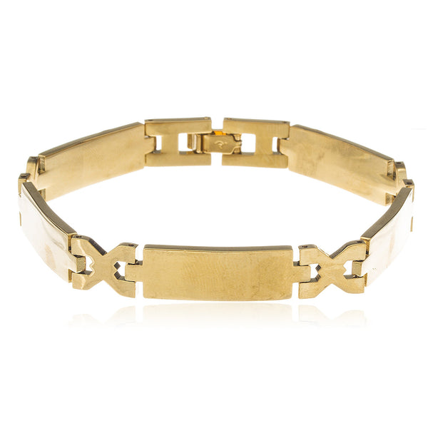 Two Year Warranty Gold Overlay 8.25 Inch Link Bar Chain Bracelet
