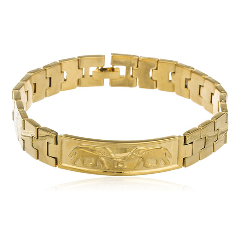 Two Year Warranty Gold Overlay 8.5 Inch Link Elephant Id Bar Bracelet