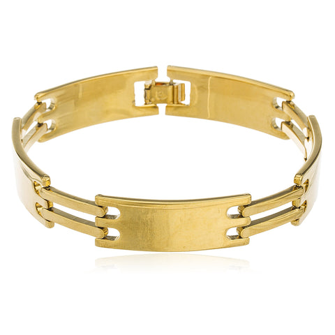 Two Year Warranty Gold Overlay 8.5 Inch Link Id Bar Bracelet
