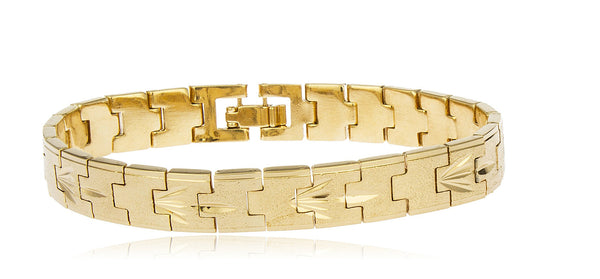 Two Year Warranty Gold Overlay 8 Inch Frosted Metal Link Bracelet