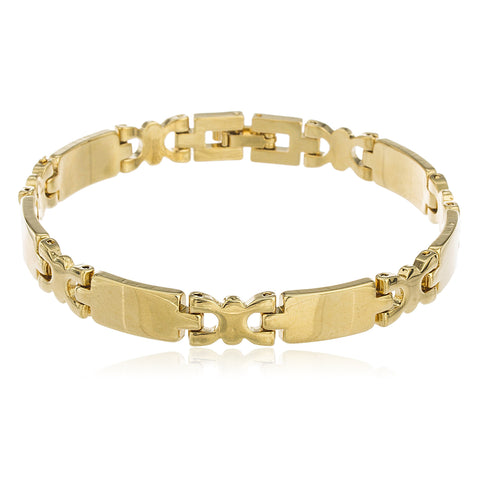 Two Year Warranty Gold Overlay 8 Inch Link Bar Chain Bracelet