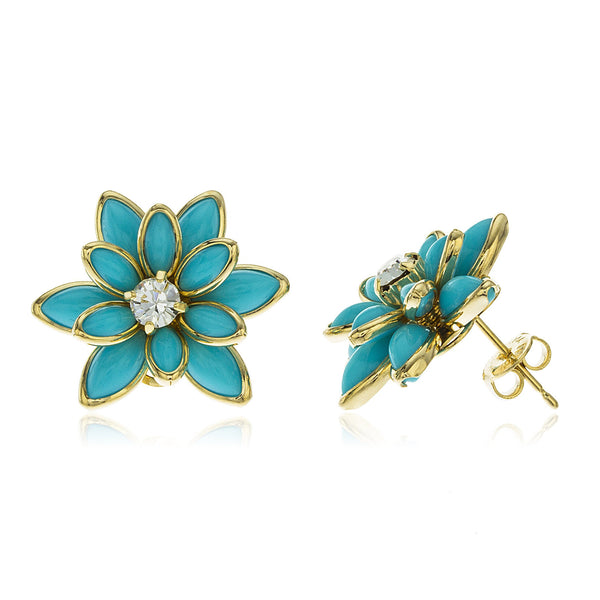 Two Year Warranty Gold Overlay Aqua 20mm Flower Pedal With Center Stone Stud Earrings