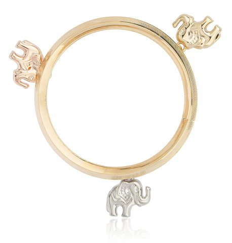 Two Year Warranty Gold Overlay Bangle With Multi Color Dangling Elephant Charms Bracelet