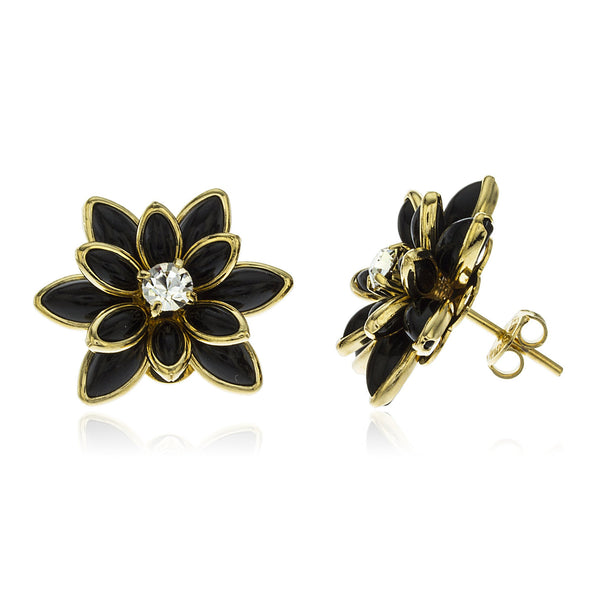 Two Year Warranty Gold Overlay Black 20mm Flower Pedal With Center Stone Stud Earrings