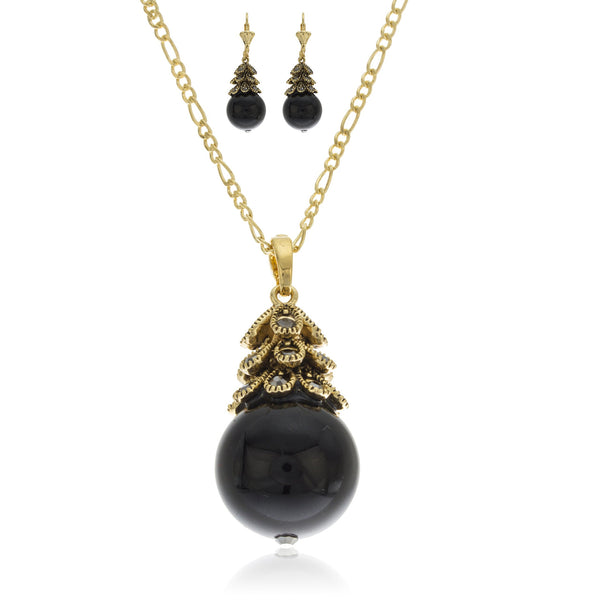 Two Year Warranty Gold Overlay Black Ball Elegant Fancy Pendant Necklace With Matching Lever Back Earrings