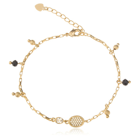 Two Year Warranty Gold Overlay Black Disco Ball And Heart Adjustable 7 Inch Cz Charm Bracelet