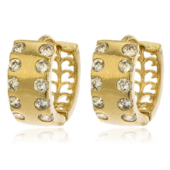 Two Year Warranty Gold Overlay Block Huggie With Cubic Zirconia Stones 13mm Earrings