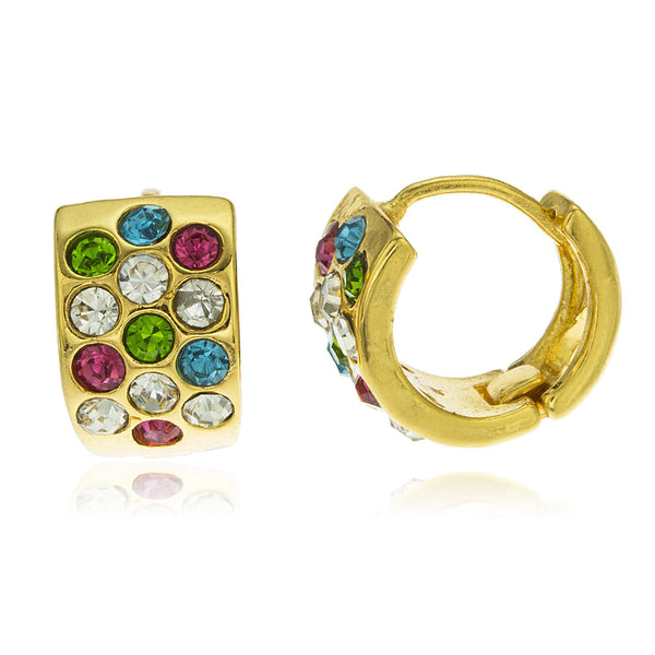 Two Year Warranty Gold Overlay Block Huggie With Multi Color Cubic Zirconia Stones 14mm Earrings