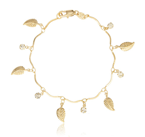 Two Year Warranty Gold Overlay Bracelet With Dangling Leaves And Clear Stones