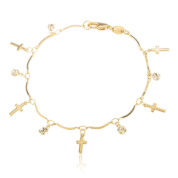 Two Year Warranty Gold Overlay Cross 7.5 Inch Cz Charm Bracelet