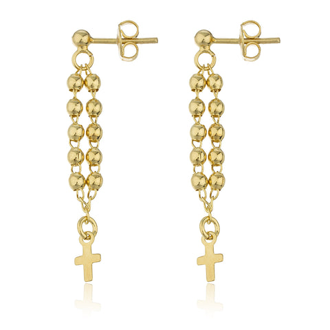 Two Year Warranty Gold Overlay Dangling 1mm Balls With Mini Cross Charm Earrings