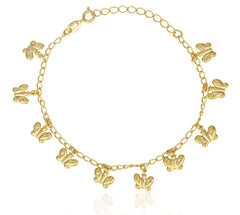 Two Year Warranty Gold Overlay Dangling Butterfly Charms 9 Inch Adjustable Link Chain Anklet