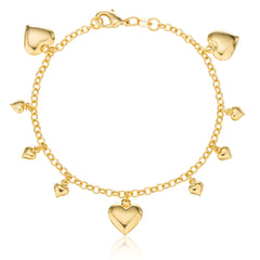Two Year Warranty Gold Overlay Dangling Heart Charms 7 Inch Link Bracelet
