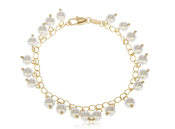 Two Year Warranty Gold Overlay Dangling Simulated Pearls 7 Inch Link Bracelet