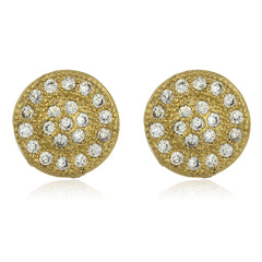 Two Year Warranty Gold Overlay Disk Design Stud Earrings With Cubic Zirconia