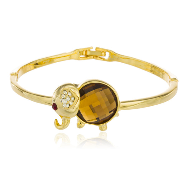 Two Year Warranty Gold Overlay Elephant Design Bangle Bracelet With Amber Stone