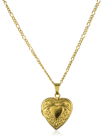 Two Year Warranty Gold Overlay Embedded Designed Heart Pendant With An 18 Inch Figaro Necklace