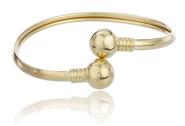 Two Year Warranty Gold Overlay Fancy Design Curved Ball Bangle Bracelet