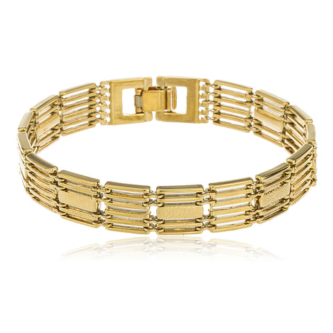 Two Year Warranty Gold Overlay 'Golden Gate' Style 8 Inch Semi Frosted Link Bracelet