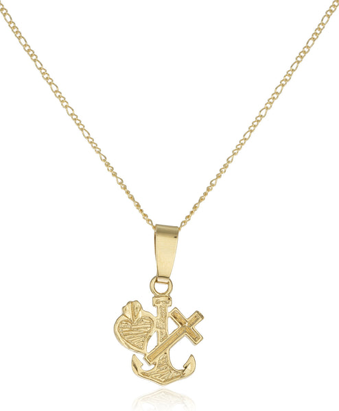 Two Year Warranty Gold Overlay Goldtone Anchor, Heart And Cross Pendant With An 18 Inch Link Necklace