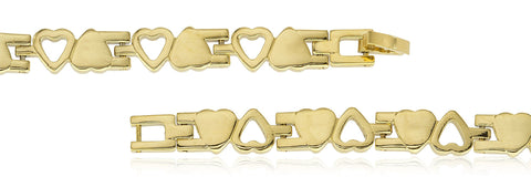 Two Year Warranty Gold Overlay Goldtone Up And Down Hearts Link 8 Inch Bracelet