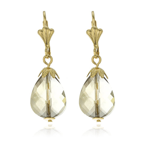 Two Year Warranty Gold Overlay Grey Pear Shaped Gem Stone Flower Style Lever Back Dangle Earrings