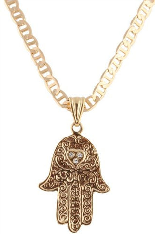 Overlay Hamsa with Stoned Heart Pendant Chain Necklace