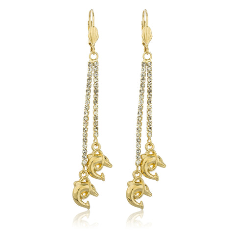 Two Year Warranty Gold Overlay Hanging Clear Stones With Dolphin Loop Charm Dangling Earrings