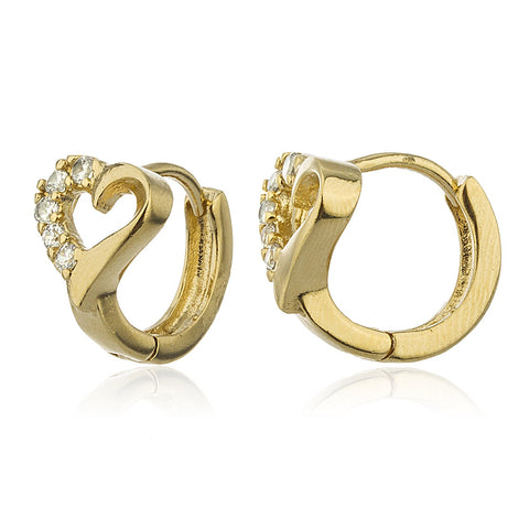 Two Year Warranty Gold Overlay Heart Design .5 Inch Huggie Hoop Earrings With Cubic Zirconia