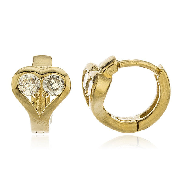 Two Year Warranty Gold Overlay Heart With Cubic Zirconia Stones 13mm Huggie Earrings