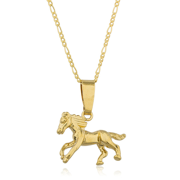 Two Year Warranty Gold Overlay Horse Pendant With An 18 Inch Link Necklace