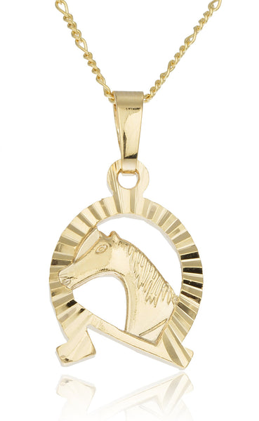 Two Year Warranty Gold Overlay Horse Shoe Pendant With Horse And A 18 Inch Link Necklace
