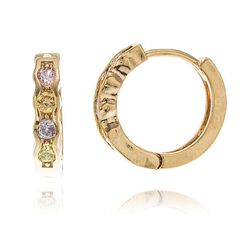 Two Year Warranty Gold Overlay Huggie With Multi Colored Stones 14mm Earrings