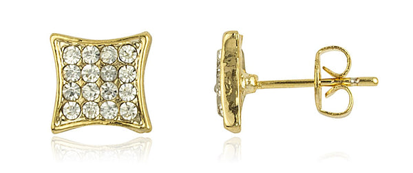 Two Year Warranty Gold Overlay Iced Out Box Stud Earrings With Stones
