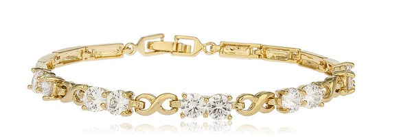 Two Year Warranty Gold Overlay Iced Out Cz Stones With Infinity Links 7.5 Inch Bracelet