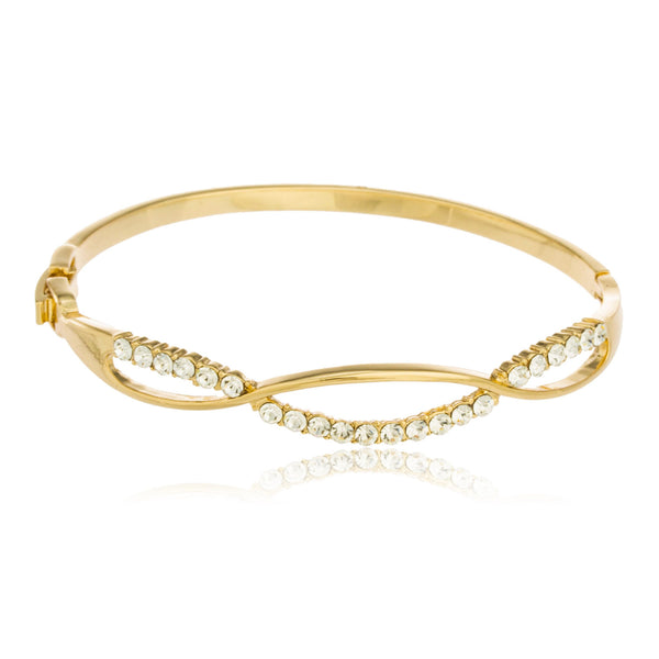 Two Year Warranty Gold Overlay Infinite Style Loop Bangle Bracelet With Stones