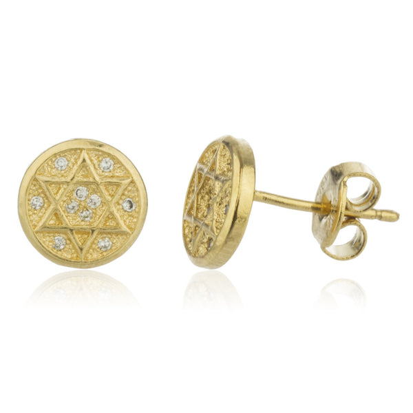 Two Year Warranty Gold Overlay Jewish Star With Cubic Zirconia Round Stud Earrings With Stones