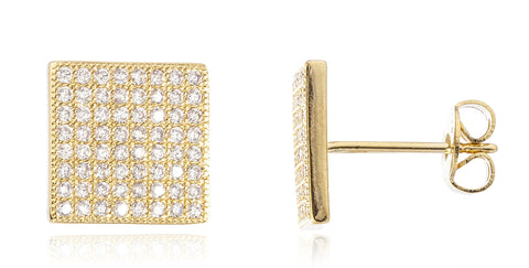 Two Year Warranty Gold Overlay Large Square Stud Earrings With Cubic Zirconia Stones