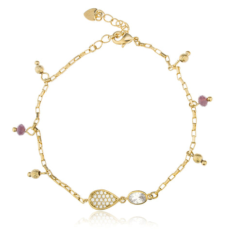 Two Year Warranty Gold Overlay Lavender Disco Ball And Heart Adjustable 7 Inch Cz Charm Bracelet