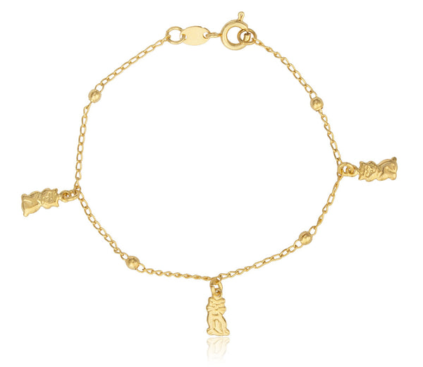 Two Year Warranty Gold Overlay Link Bracelet With Ball And Cat Charms