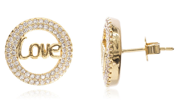 Two Year Warranty Gold Overlay Love Circle Stud Earrings With Cubic Zirconia Stones