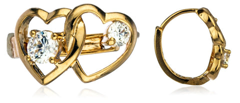 Two Year Warranty Gold Overlay 'Love Locked' .5 Inches Heart Loop Earrings With Cubic Zirconia Stones