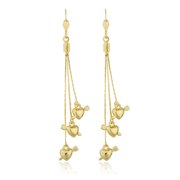 Two Year Warranty Gold Overlay 'Love Shot' Heart Charms 2.5 Inches Dangling Earrings
