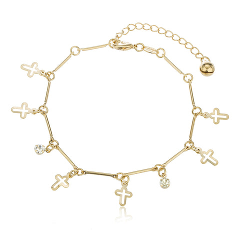 Two Year Warranty Gold Overlay Mini Cross Charms With Clear Dangling Stones 9 Inch Adjustable Anklet