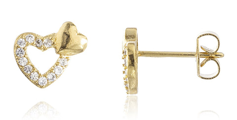 Two Year Warranty Gold Overlay Mini Double Heart Stud Earrings With Cubic Zirconia Stones