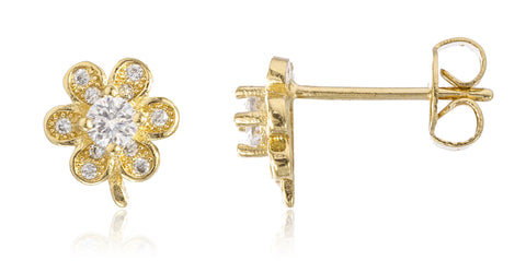 Two Year Warranty Gold Overlay Mini Flower Stud Earrings With Cubic Zirconia Stones