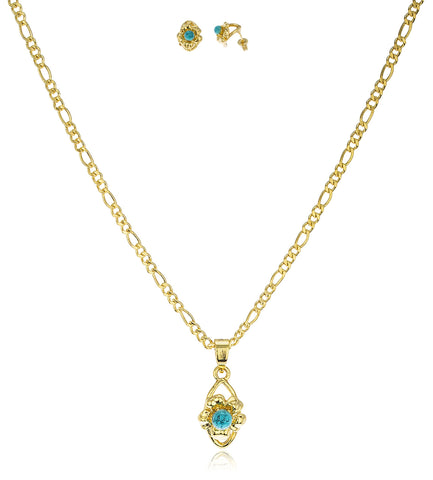 Two Year Warranty Gold Overlay Mini Flower With Turquoise Ball Matching Earrings And 18 Inch Figaro Necklace Jewelry Set